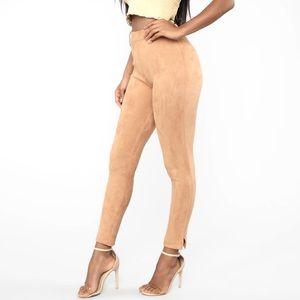 Fashionova Making It Happen Faux Suede Pants - Camel